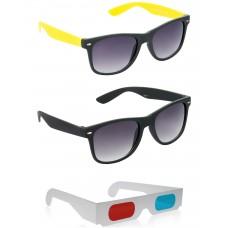 Foldable Brown Plastic Frame Sunglasses + Black Plastic Frame Sunglasses + Free 3D Glasses - 3 pcs/Pack