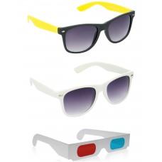 Foldable Brown Plastic Frame Sunglasses + White Plastic Frame Sunglasses + Free 3D Glasses - 3 pcs/Pack
