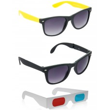 Foldable Black Wayfarer Sunglasses + foldable Brown Wayfarer Sunglasses + Free 3D Glasses - 3 pcs/Pack