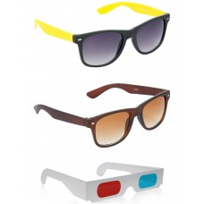 Brown Wayfarer Sunglasses + foldable Brown Wayfarer Sunglasses + Free 3D Glasses - 3 pcs/Pack