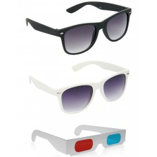 Black Plastic Frame Sunglasses + White Plastic Frame Sunglasses + Free 3D Glasses - 3 pcs/Pack