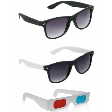 Black Plastic Frame Sunglasses + Black and White Plastic Frame Sunglasses + Free 3D Glasses - 3 pcs/Pack