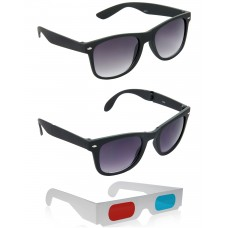 Foldable Black Wayfarer Sunglasses + Black Wayfarer Sunglasses + Free 3D Glasses - 3 pcs/Pack
