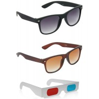 Black Plastic Frame Sunglasses + Brown Plastic Frame Sunglasses + Free 3D Glasses - 3 pcs/Pack