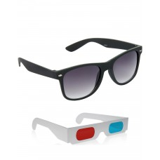 Black Plastic Frame Sunglasses + Free 3D Glasses - 2 pcs/Pack