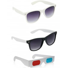Black and White Plastic Frame Sunglasses + White Plastic Frame Sunglasses + Free 3D Glasses - 3 pcs/Pack