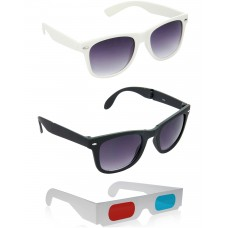 Foldable Black Plastic Frame Sunglasses + White Plastic Frame Sunglasses + Free 3D Glasses - 3 pcs/Pack