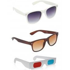 Brown Wayfarer Sunglasses + White Wayfarer Sunglasses + Free 3D Glasses - 3 pcs/Pack