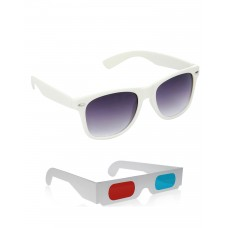 White Wayfarer Sunglasses + Free 3D Glasses - 2 pcs/Pack