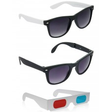 Foldable Black Wayfarer Sunglasses + Black and White Wayfarer Sunglasses + Free 3D Glasses - 3 pcs/Pack