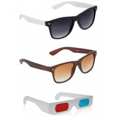 Brown Wayfarer Sunglasses + Black and White Wayfarer Sunglasses + Free 3D Glasses - 3 pcs/Pack