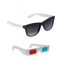 Black and White Wayfarer Sunglasses + Free 3D Glasses - 2 pcs/Pack