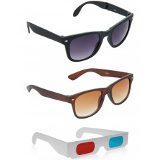 Brown Wayfarer Sunglasses + Foldable Black Wayfarer Sunglasses + Free 3D Glasses - 3 pcs/Pack