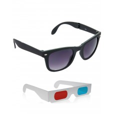 Foldable Black Plastic Frame Sunglasses + Free 3D Glasses - 2 pcs/Pack