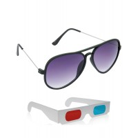 New Style Black Wayfarer Sunglasses + Free 3D Glasses - 2 pcs/Pack