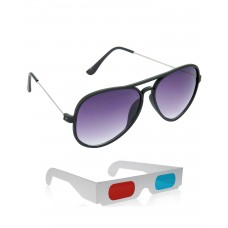 New Style Black Plastic Frame Sunglasses + Free 3D Glasses - 2 pcs/Pack