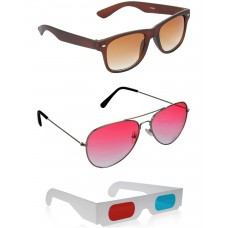 Brown Wayfarer Sunglasses + Red Aviator Sunglasses + Free 3D Glasses - 3 pcs/Pack