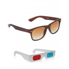 Brown Plastic Frame Sunglasses + Free 3D Glasses - 2 pcs/Pack