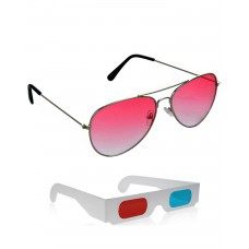 Red Aviator Sunglasses + Free 3D Glasses - 2 pcs/Pack