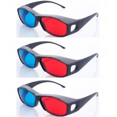 Hrinkar original New Model Anaglyph 3D Glasses Red and Cyan ( 3D Glass 3 Pcs Pack )