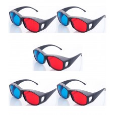 Hrinkar original New Model Anaglyph 3D Glasses Red and Cyan ( 3D Glass 5 Pcs Pack )