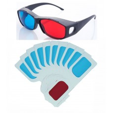 Hrinkar original New Model Anaglyph 3D Glasses Red and Cyan 1 Plastic +10 Paper offer ( 3D Glass )