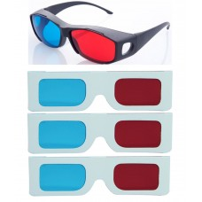 Hrinkar original New Model Anaglyph 3D Glasses Red and Cyan 1 Plastic +3 Paper offer ( 3D Glass )