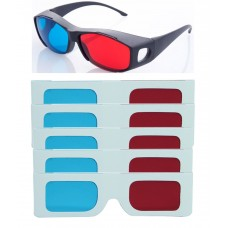 Hrinkar original New Model Anaglyph 3D Glasses Red and Cyan 1 Plastic +5 Paper offer ( 3D Glass )