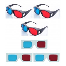 Hrinkar original New Model Anaglyph 3D Glasses Red and Cyan 3 Plastic + 3 Paper offer ( 3D Glass )