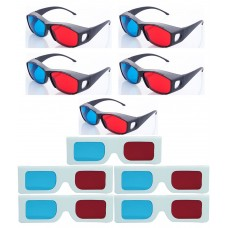 Hrinkar original New Model Anaglyph 3D Glasses Red and Cyan 5 Plastic + 5 Paper offer ( 3D Glass )