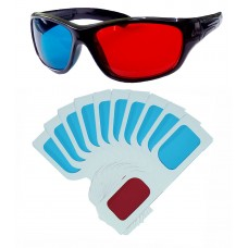 Hrinkar original Anaglyph 3D Glasses Red and Cyan 1 Plastic + 10 Paper offer ( 3D Glass )