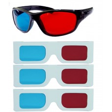 Hrinkar original Anaglyph 3D Glasses Red and Cyan 1 Plastic + 3 Paper offer ( 3D Glass )