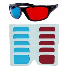 Hrinkar original Anaglyph 3D Glasses Red and Cyan 1 Plastic + 5 Paper offer ( 3D Glass )