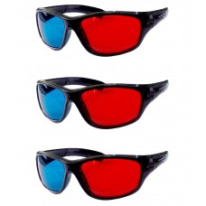 Hrinkar original Anaglyph 3D Glasses Red and Cyan ( 3D Glass 3 Pcs Pack )