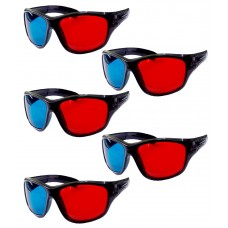 Hrinkar original Anaglyph 3D Glasses Red and Cyan ( 3D Glass 5 Pcs Pack )