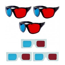 Hrinkar original Anaglyph 3D Glasses Red and Cyan 3 Plastic + 3 Paper offer ( 3D Glass )
