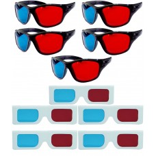 Hrinkar original Anaglyph 3D Glasses Red and Cyan 5 Plastic + 5 Paper offer ( 3D Glass )