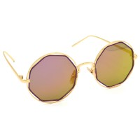 TARA JARMON TJ-BX331-GLD-PNK_1 Round Sunglasses (Golden, Violet)
