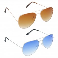 Aviator Brown Lens Gold Frame Sunglasses, Aviator Blue Lens Silver Frame Sunglasses Minor Scratch - LOW-HCMB001
