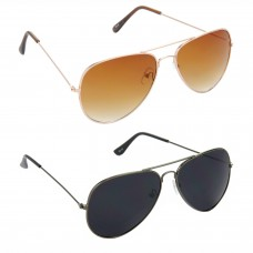 Aviator Brown Lens Gold Frame Sunglasses, Aviator Black Lens Grey Frame Sunglasses Minor Scratch - LOW-HCMB002