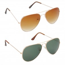 Aviator Brown Lens Gold Frame Sunglasses, Aviator Green Lens Gold Frame Sunglasses Minor Scratch - LOW-HCMB003