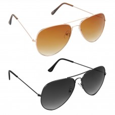 Aviator Brown Lens Gold Frame Sunglasses, Aviator Grey Lens Grey Frame Sunglasses Minor Scratch - LOW-HCMB004
