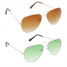 Aviator Brown Lens Gold Frame Sunglasses, Aviator Green Lens Silver Frame Sunglasses Minor Scratch - LOW-HCMB005