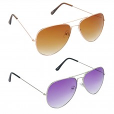 Aviator Brown Lens Gold Frame Sunglasses, Aviator Purple Lens Silver Frame Sunglasses Minor Scratch - LOW-HCMB006