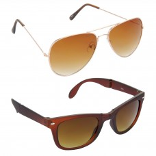 Aviator Brown Lens Gold Frame Sunglasses, Wayfarers Brown Lens Brown Frame Sunglasses Minor Scratch - LOW-HCMB007