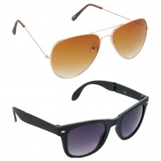 Aviator Brown Lens Gold Frame Sunglasses, Wayfarers Grey Lens Black Frame Sunglasses Minor Scratch - LOW-HCMB008