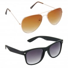 Aviator Brown Lens Gold Frame Sunglasses, Wayfarers Grey Lens Black Frame Sunglasses Minor Scratch - LOW-HCMB009