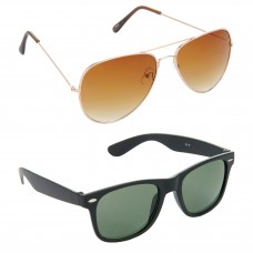 Aviator Brown Lens Gold Frame Sunglasses, Wayfarers Green Lens Black Frame Sunglasses Minor Scratch - LOW-HCMB010