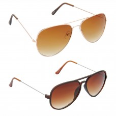 Aviator Brown Lens Gold Frame Sunglasses, Aviator Brown Lens Brown Frame Sunglasses Minor Scratch - LOW-HCMB011