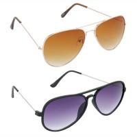 HRINKAR Aviator Brown Lens Gold Frame Sunglasses, Aviator Grey Lens Black Frame Sunglasses - HCMB012